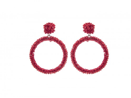 Red Seed Bead Round Hoop Dangle Post Earrings