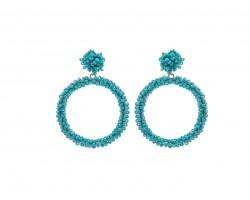 Turquoise Seed Bead Round Hoop Dangle Post Earrings