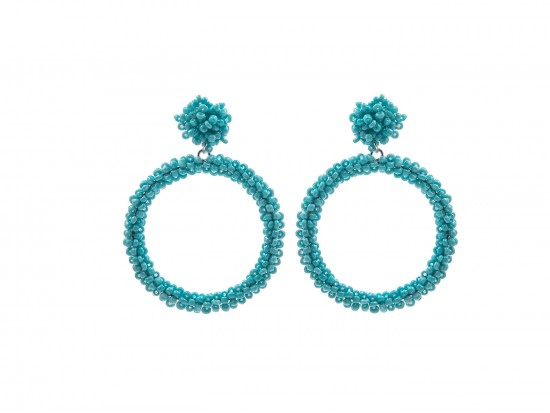 Turquoise Seed Bead Round Hoop Dangle Post Earrings