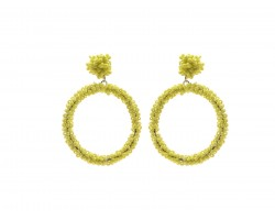 Yellow Seed Bead Round Hoop Dangle Post Earrings