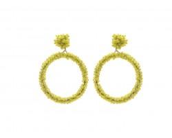 Yellow Seed Bead Round Hoop Dangle Post Earrings