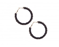 Black Seed Bead Round Hoop Post Earrings