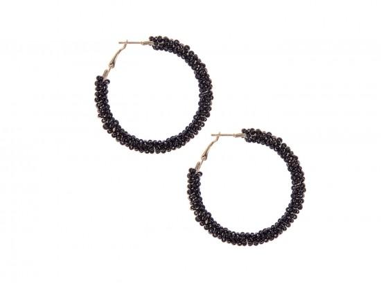 Black Seed Bead Round Hoop Post Earrings