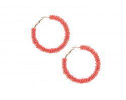 Coral Seed Bead Round Hoop Post Earrings