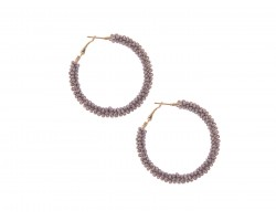 Gray Seed Bead Round Hoop Post Earrings