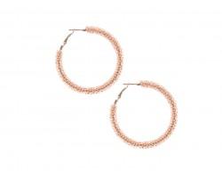 Peach Light Seed Bead Round Hoop Post Earrings