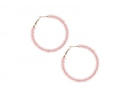 Pink Light Seed Bead Round Hoop Post Earrings