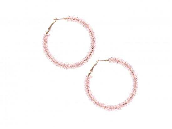 Pink Light Seed Bead Round Hoop Post Earrings
