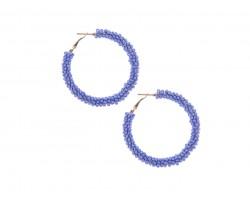 Blue Light Seed Bead Round Hoop Post Earrings