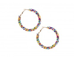 Multi Seed Bead Round Hoop Post Earrings