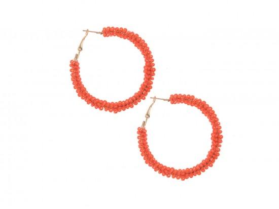 Orange Seed Bead Round Hoop Post Earrings