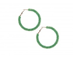 Green Seed Bead Round Hoop Post Earrings