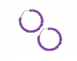 Purple Seed Bead Round Hoop Post Earrings