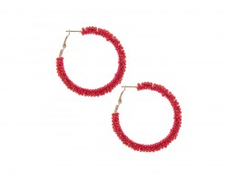 Red Seed Bead Round Hoop Post Earrings