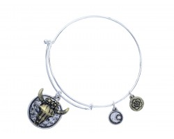 Silver Longhorn Flower Charm Bracelet