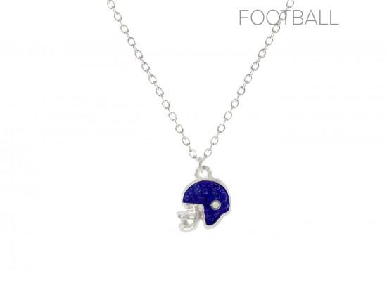 Blue Crystal Football Helmet Chain Necklace