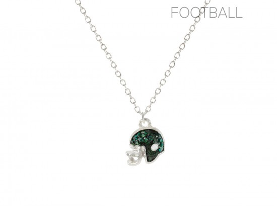 Green Crystal Football Helmet Chain Necklace