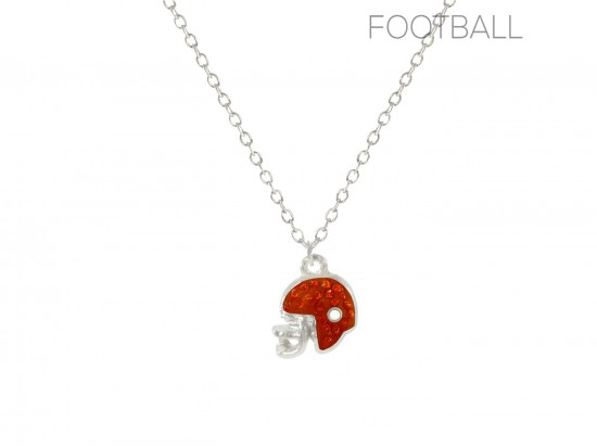 Orange Crystal Football Helmet Chain Necklace