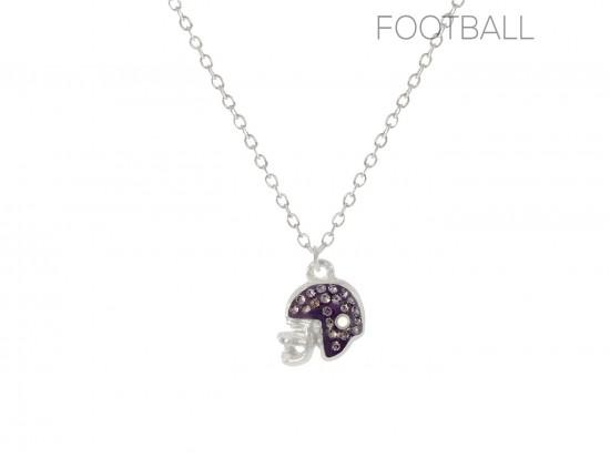 Purple Crystal Football Helmet Chain Necklace