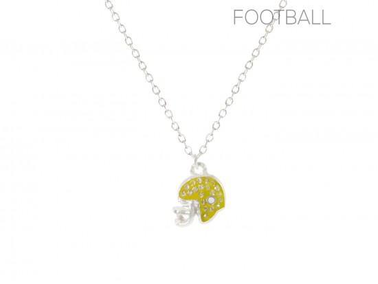 Yellow Crystal Football Helmet Chain Necklace