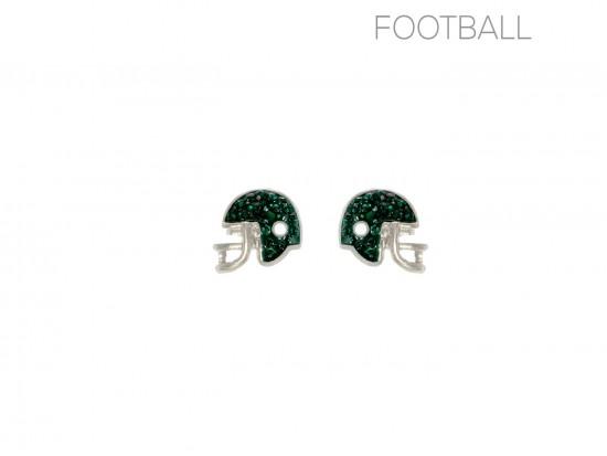 Green Crystal Football Helmet Post Earrings