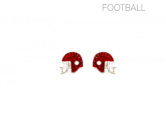 Red Crystal Football Helmet Post Earrings