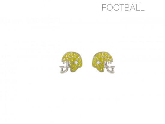 Yellow Crystal Football Helmet Post Earrings