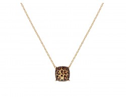 Brown Leopard Pattern Cushion Cut Pendant Necklace