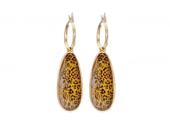 Brown Leopard Brushed Teardrop Hoop Earrings