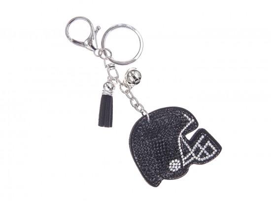 Black Crystal Football Helmet Puffy Key Chain