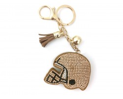 Gold Crystal Footbal1 Helmet Puffy Key Chain