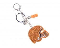 Orange Crystal Football Helmet Puffy Key Chain
