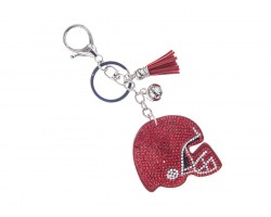 Red Crystal Football Helmet Puffy Key Chain