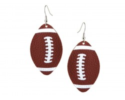 Brown Football Leather Hook Earrings