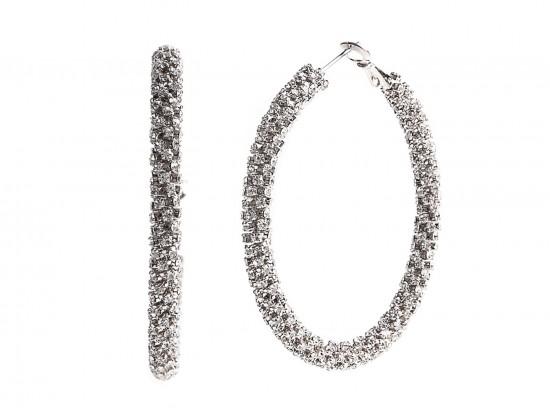 Silver Clear Crystal 50mm Hoop Post Earrings