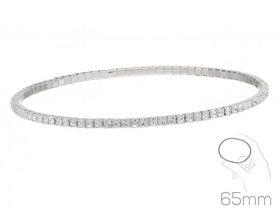 Silver Clear Crystal Super Flex Memory Wire Bracelet