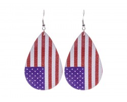 USA Flag Teardrop Leather Hook Earrings