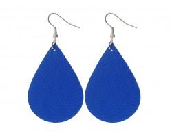 Blue Teardrop Leather Hook Earrings