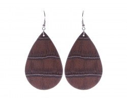 Dark Brown Teardrop Leather Hook Earrings