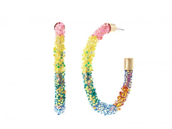 Multi Rainbow Glitter Hoop Gold Earrings