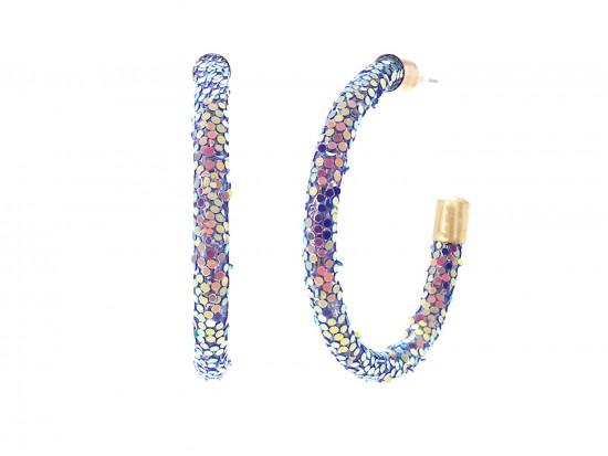 Purple Glitter Hoop Gold Earrings