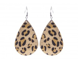 Brown Leopard Teardrop Leather Hook Earrings