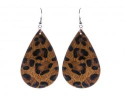 Dark Brown Leopard Teardrop Leather Hook Earrings