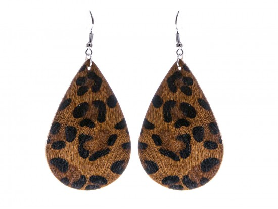 Dark Brown Leopard Teardrop Leather Hook Earrings