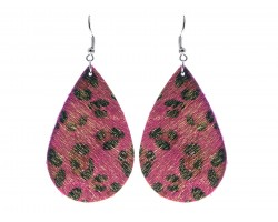Fuchsia Leopard Teardrop Leather Hook Earrings