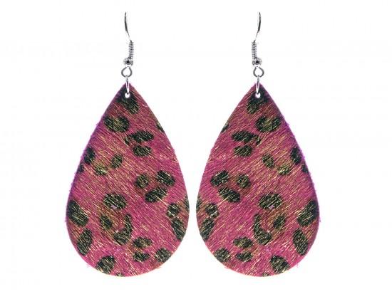 Fuchsia Leopard Teardrop Leather Hook Earrings