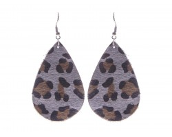 Gray Leopard Teardrop Leather Hook Earrings