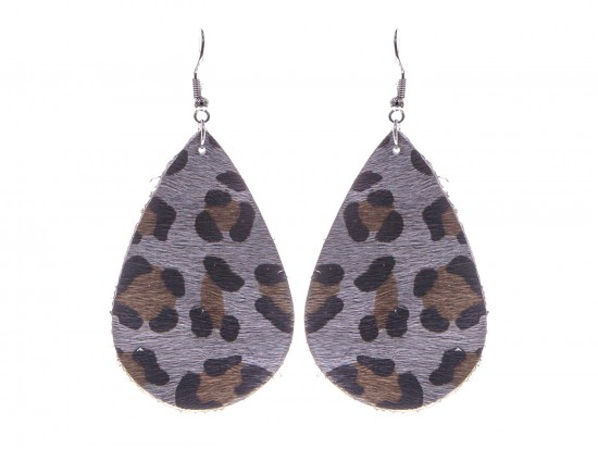Gray Leopard Teardrop Leather Hook Earrings