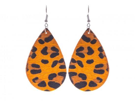 Orange Leopard Teardrop Leather Hook Earrings