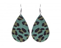 Green Blue Leopard Teardrop Leather Hook Earrings